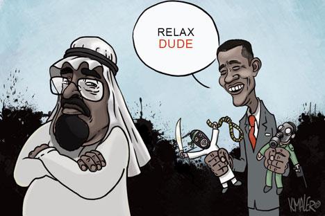 """""""Опушти се, човеку"""".Карикатура: Константин Малер."""