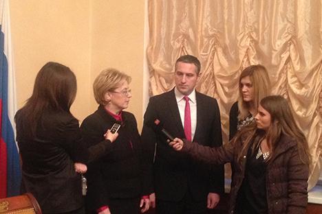 Вероника Скворцова, министер за здравство на РФ и Никола Тодоров, министер за здравство на РМ. Извор: Министерство за здравство на РМ