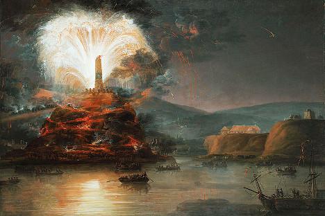 Непознат уметник: Огномет во чест на Екатерина Велика за време на нејзиното патување на Крим (1780). Фотографија од слободни извори.