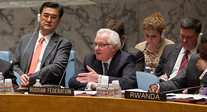 """Постојаниот претставник на РФ Виталиј Чуркин ја повика меѓународната заедница да побара од киевските власти прекинување на """"војната со украинскиот народ"""". Извор: UN PHoto"""