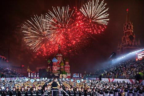 """""""Спаска кула"""" е еден од најголемите фестивали на воена музика во светот. Извор: Росијскаја газета."""