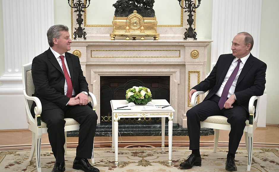 Претседателот на Република Македонија Ѓорѓе Иванов и претседателот на Руската Федерација Владимир Путин во текот на средбата во Кремљ. 24 мај 2017, Москва, Русија.