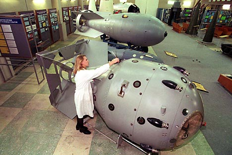 Макете совјетских нуклеарних бомби у Музеју нуклеарног оружја у Сарову. Извор: AFP.