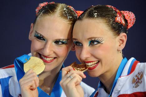 """Руске синхроне пливачице добро знају укус злата. Извор: Владимир Асталкович / РИА """"Новости""""."""