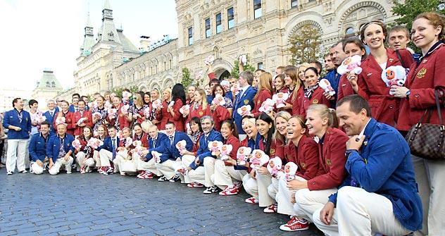 Олимпијска репрезентација Русије на Црвеном тргу у Москви. Извор: Reuters/Vostock Photo.