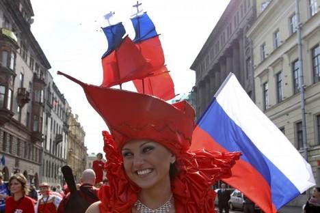 Прослава Дана Државне заставе Руске Федерације (22. август) у Санкт Петербургу. Извор: Александар Демјанчук / Vostok / Reuters.