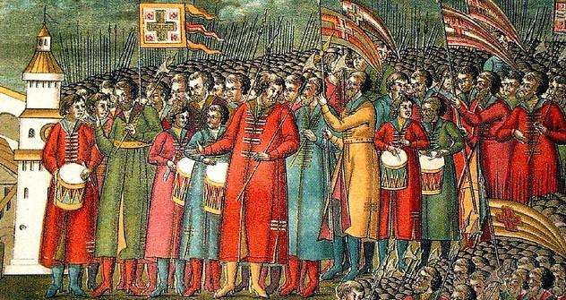 Стрелци на избору Михаила Фјодоровича за цара (1672). Пуковима стрелаца помагали су козачки одреди. Из слободних извора.