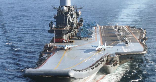 """Тешки носач авиона """"Адмирал Кузњецов"""", командни брод Северне флоте. Извор: ИТАР-ТАСС."""