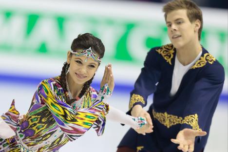 Руски пар Јелена Иљиних и Никита Кацалапов био је најбољи у сегменту слободан плес. Извор: AP.
