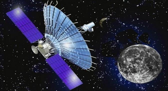 """Раздаљина између два телескопа система """"Радиоастрон"""" захваљујући космичкој антени износи 300 хиљада километара. Самим тим је и резолуција око тридесет пута већа него код земаљских интерферометара. Илустрација из слободних извора."""