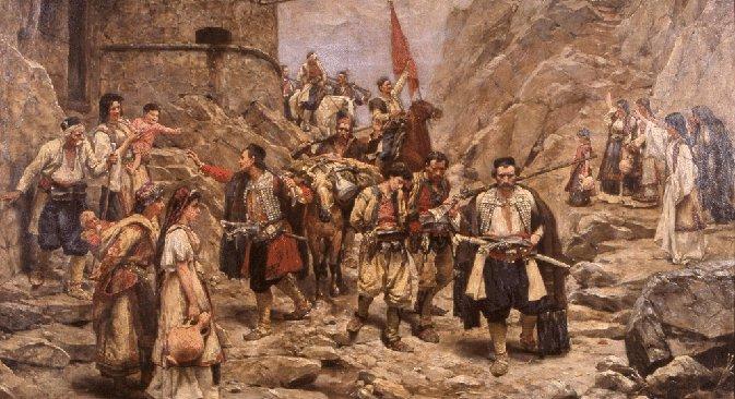 Паја Јовановић: Повратак чете Црногораца из боја (1889). Сматра се да ово платно Паје Јовановића изузетно добро преноси дух епохе црногорског устанка 1711. године.
