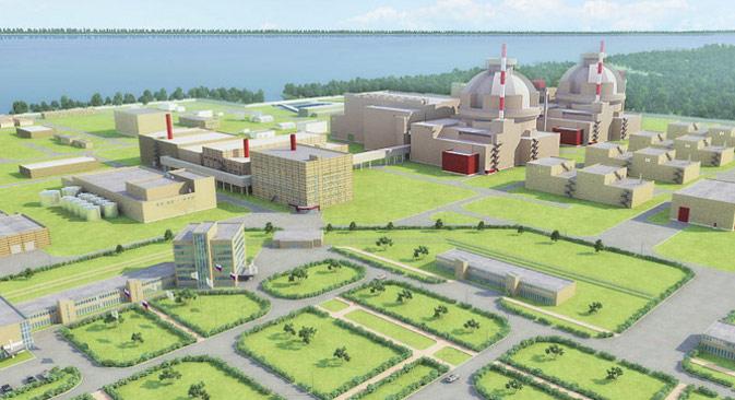 """Руски пројекат нуклеарне електране """"Белене"""", која је требало да се изгради на Дунаву, 3 km од места Белене у северној Бугарској. Ова електрана је планирана као замена за стару нуклеарну електрану """"Козлодуј"""", коју је Бугарска затворила као услов за улазак у Европску унију. Извор: """"Росатом""""."""