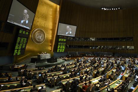 """Русија сматра да се у тексту споразума који је усвојила Генерална скупштина УН не помиње """"недопустивост испоруке оружја побуњеницима"""". Извор: AFP / East News."""