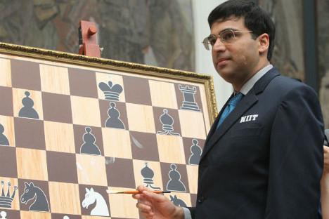 Победник турнира у Лондону укрстиће копља са тренутним светским прваком у шаху, Индијцем Вишванатаном Анандом (на слици). Виктор Васенин / Росијска газета.