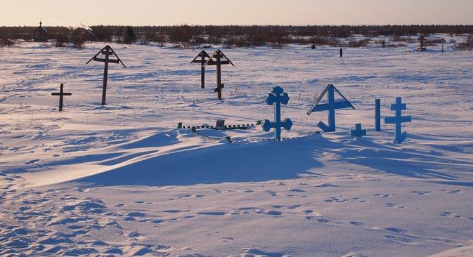 Гробље града-привиђења Пустозјорска. Фотографија: Семјон Кваша.