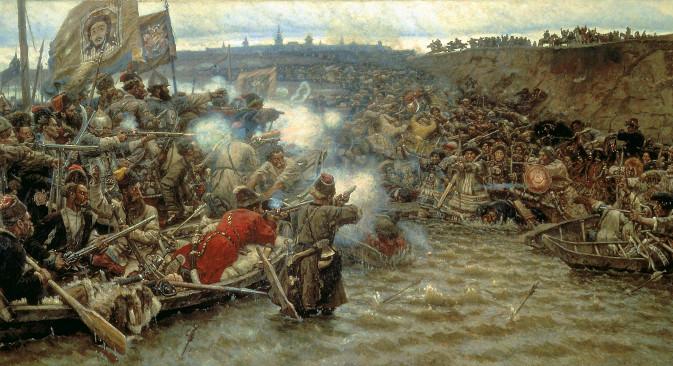 """""""Покоряването на Сибир от Ермак"""", 1895 (Худ. Василий Суриков (1848-1916)."""