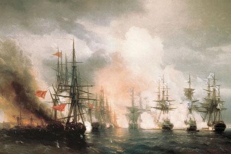Иван Ајвазовски: Битка за Синопу (1853). У Бици за Синопу, која се одиграла 18. (односно 30) новембра 1853, Русија је уништила турску флоту за само неколико сати. Неки историчари сматрају ову битку првим сукобом Кримског рата. Овај напад је послужио као повод Великој Британији и Француској да објаве рат Русији.