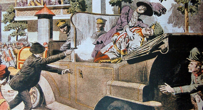 Атентат на аустријског престолонаследника Франца Фердинанда (1863-1914) и његову супругу Софију (1868-1914) 28. јуна 1914. Илустрација из француског листа Le Petit Journal, 12. јул 1914.