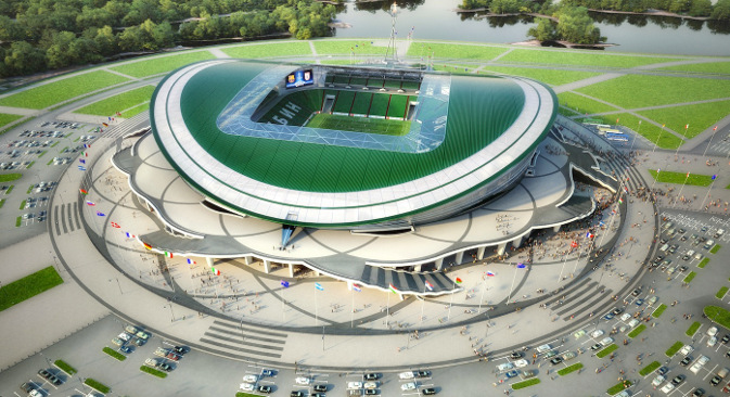 """Пројекат стадиона """"Казањ aрена"""" у Казању. Из слободних извора."""