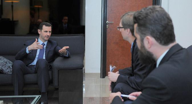 Башар Асад: САД, Француска и Велика Британија су од самог почетка кризе покушавале да изврше војну интервенцију, али нису могле да убеде своје народе и свет да је њихова политика мудра и корисна. Извор: AFP / East News.