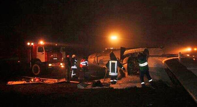 """Посада татарстанског """"боинга 737-500"""" је из засада непознатих разлога одустала од атерирања у првом покушају и поновила маневар слетања. Извор: twitter.com/russia2tv."""