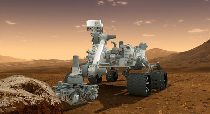 """Игор Митрофанов: Чињеница да је на Марсу вода преовлађујуће хемијско једињење које садржи водоник може се сматрати недвосмислено потврђеном. На илустрацији: марсомобил """"Curiosity"""". Извор: НАСА."""