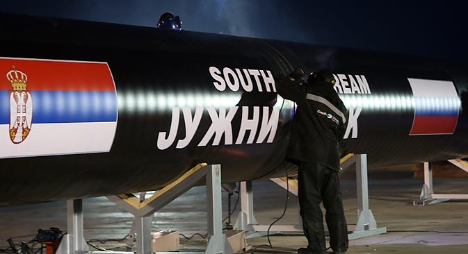 """Српска деоница """"Јужног тока"""" кошта, према тренутним проценама, 1,9 милијарди евра. Извор: EPA / ИТАР-ТАСС."""