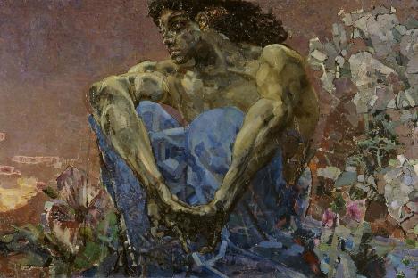 """Михаил Врубељ: Демон који седи у башти (1890). Државна галерија """"Павел Третјаков"""", Москва."""