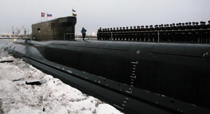 """Према речима главнокомандујућег Оружаних снага РФ Владимира Путина, """"Александар Невски"""" је """"савршени нуклеарни носач ракета"""". Извор: ИТАР-ТАСС."""