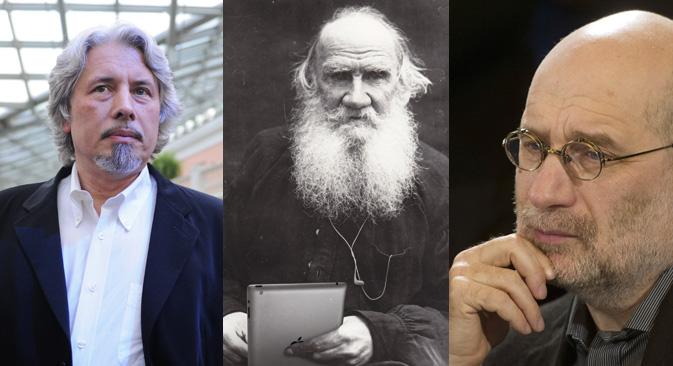 """Слева надесно:Владимир Сорокин, Лав Толстој, Борис Акуњин. Извори: ИТАР-ТАСС, архивска фотографија, РИА """"Новости""""."""