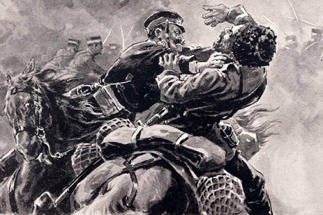 Двобој између јапанског војника и руског козака. Извор: часопис The Russo-Japanese War, Kinkodo-Shoseki-Kabushiki-Kaisha (Kinkodo Publishing Co.), 1904.