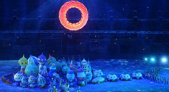 """Церемонија отварања Олимпијаде је одржана на стадиону """"Фишт"""" у Олимпијском парку Сочија. Извор: РИА """"Новости""""."""
