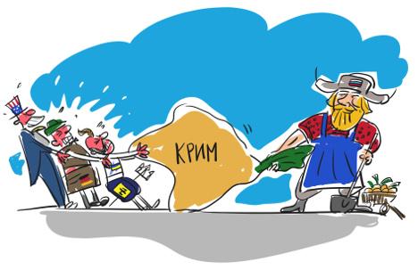 Деда и репа: Русија против свих. Карикатура: Алексеј Иорш.