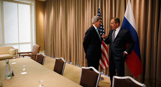 Lavrov (right) pointed out that the Geneva agreements are only the beginning of the process. Source: AP