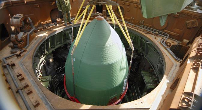 """Руско-украјинска ракета-носач """"Дњепар"""", конструисана на основу технологија интерконтиненталне балистичке ракете РС-20 (15А18) (""""Сатана"""" по класификацији НАТО-а). Извор: ИТАР-ТАСС."""