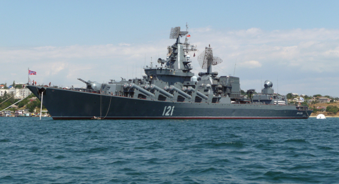 """Гардијска ракетна крстарица """"Москва"""", адмиралски брод Црноморске флоте Русије. Фотографија из слободних извора."""