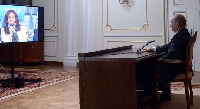 """Владимир Путин је грађанима Аргентине поручио да ће их Русија безусловно подржавати у остваривању њихових циљева. Извор: РИА """"Новости""""."""