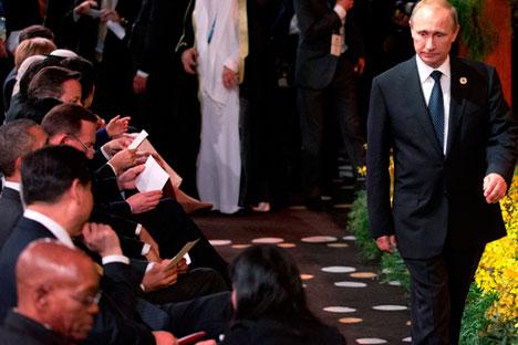 Током самита у Пекингу и Бризбејну председник РФ Владимир Путин је говорио и о успостављању принципијелно нових веза на светској сцени, пре свега у сфери глобалног управљања. Извор: Reuters.