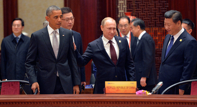 """Дан уочи Самита АТЕС у Пекингу кинески медији су Обамину политику у тихоокеанском региону назвали """"баналном"""". Извор: Reuters."""