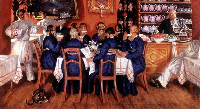 """Борис Кустодијев (1878-1927): Московска крчма (1916). Државна галерија """"Павел Третјаков"""", Москва."""