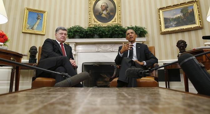 Председници Украјине и САД, Петар Порошенко и Барак Обама, разматрали су могућност и формат минских преговора током свог септембарског сусрета у Вашингтону. Извор: Reuters.
