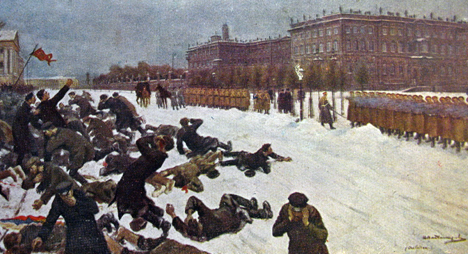 Иван Владимиров (1870-1947): Стрељање радника испред Зимског дворца 9. јануара 1905. године (1917).
