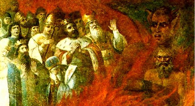 """""""Лав Толстој у загрљају Сатане"""". Ова фреска из 1883. налазила се на зиду Знаменске цркве у селу Тазово у Курској Области. Сада је део збирке Музеја историје религије (некадашњег Музеја историје религије и атеизма, основаног 1932) у Санкт Петербургу. Фотографија из слободних извора."""