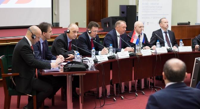 """Руско-хрватска конференција у Москви отворена је 17. фебруара, само дан након што је Европска унија проширила санкције Русији, укључивши на """"црну листу"""" још 19 руских званичника и 9 компанија. Фотографија: Јекатерина Туришева."""