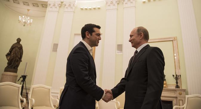 Алексис Ципрас и Владимир Путин у Кремљу. Извор: Press Photo.