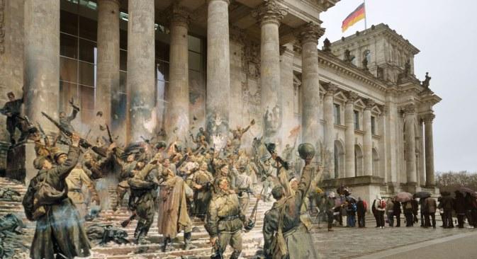 """Берлин 1945. (Петар Кривоногов, """"Победа"""", фрагмент). Аутор колажа: Сергеј Ларенков"""