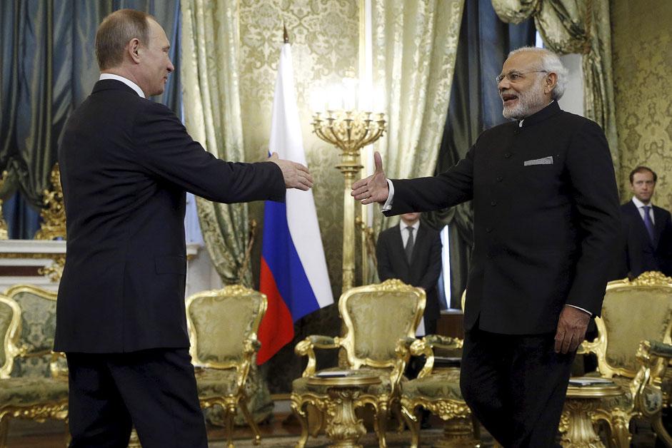 Vladimir Putin met Narendra Modi in Moscow in December, 2015.