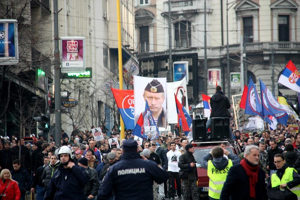 Демонстрације против споразума са НАТО-ом у Београду 20. фебруара 2016. Извор: snopova.livejournal.com