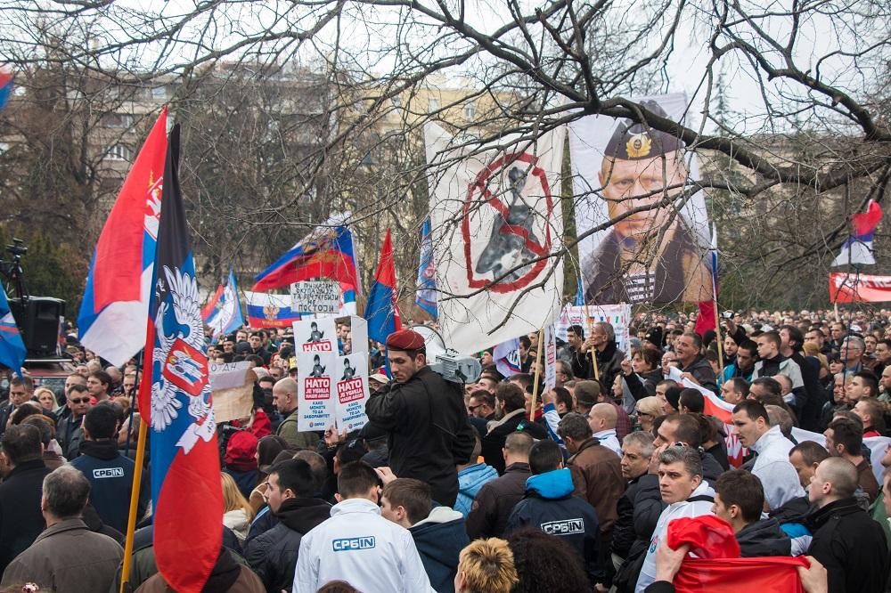 Београд 20. фебруар 2016, демонстрације против споразума са НАТО-ом.