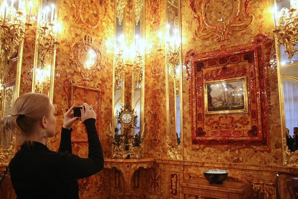 En la Cámara de Ámbar, en el Palacio de Catalina. Foto: TASS/Eugene Asmolov